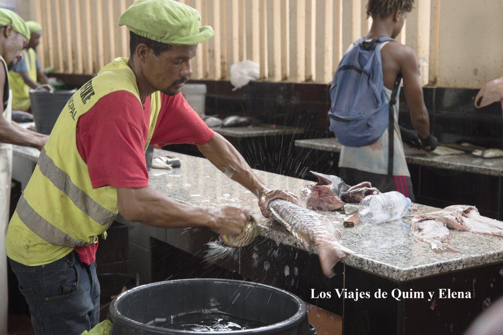 Limpiando pescado en el mercado de peixe