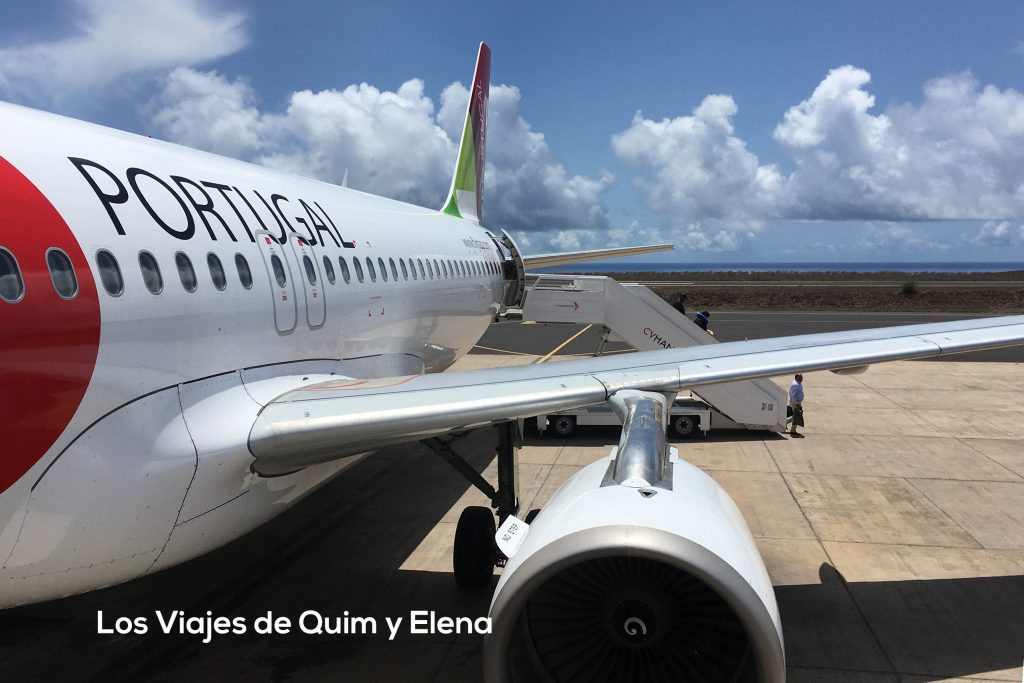 Nuestro avión de la Tap con destino a nuestras Vacaciones a Cabo Verde