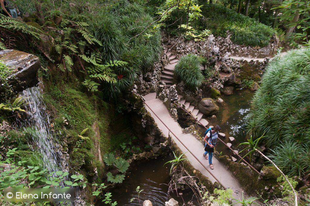 Zona de la cascada en Quinta da Regaleira