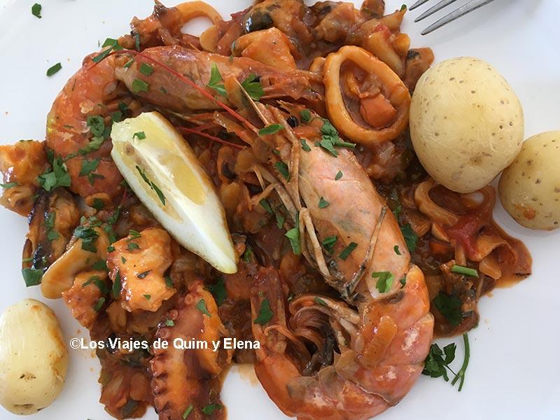 Cazuela de marisco en Restaurante Tahoyo