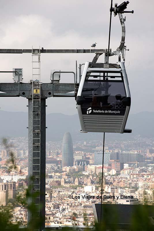 El teleférico de la montaña de Montjuic en Barcelona