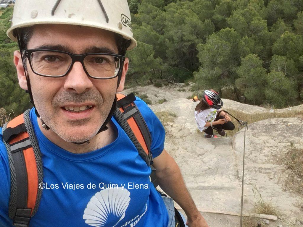 Quim haciendo una Vía Ferrata en Centelles, Cataluña